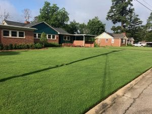 Photo from street of a bermuda lawn in Macon / Warner Robins. Our lawn treatments keep this lawn dark green and weed free