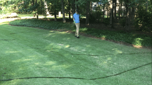 Photo of lawn tech applying liquid fertilizer to a lawn in the macon and warner robins area.